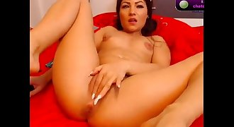 NawtyKate  brunette plays with rubber cock on cam