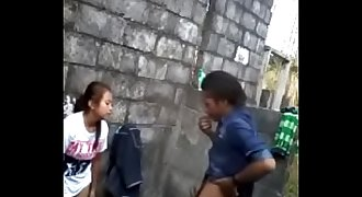 village girl fucking with friend at broken building